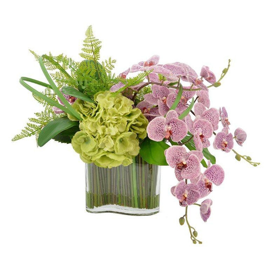 Floral Centerpiece With Tall Curved Glass Vase