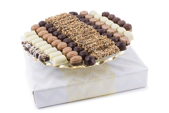 Assorted Truffles on Elegant Cake Plate 13""