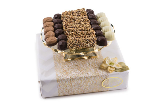 Assorted Truffles on Elegant Cake Plate- 9""