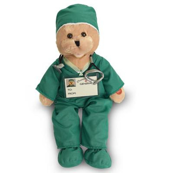 """Nurse in Green Scrubs Bear -Sings """"I'll Be There for You."""""""
