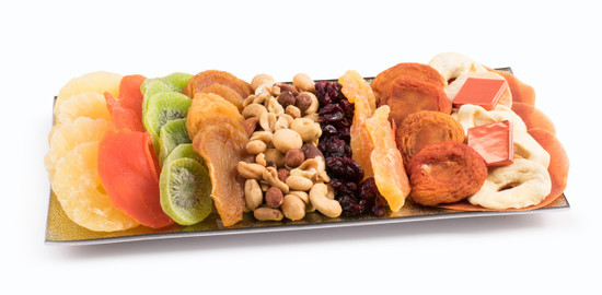 Dried Fruit And Nuts on Glass Tray