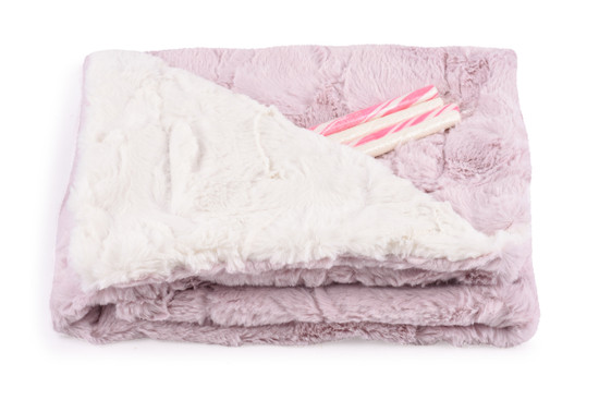 Baby Blanket Luxe Pink/Cream With Candy Sticks