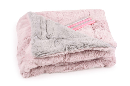 Baby Blanket Luxe Pink/ Grey With Candy Sticks