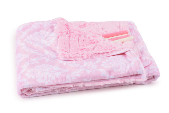 Baby Blanket Pink Damask With Candy Sticks