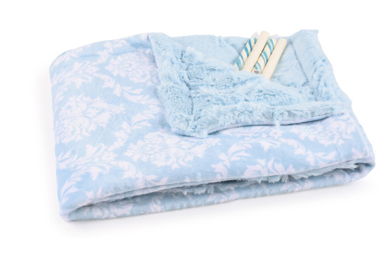 Baby Blue Damask Blanket With Candy Sticks