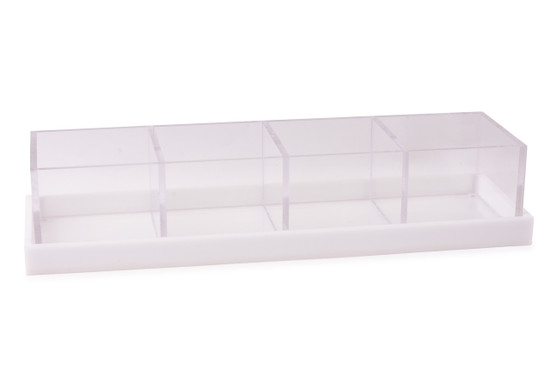 Acrylic 4 section Long Server with Base/ Cover-16""