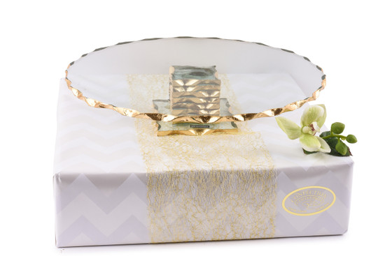 Cake Stand with Gold Rim -13""