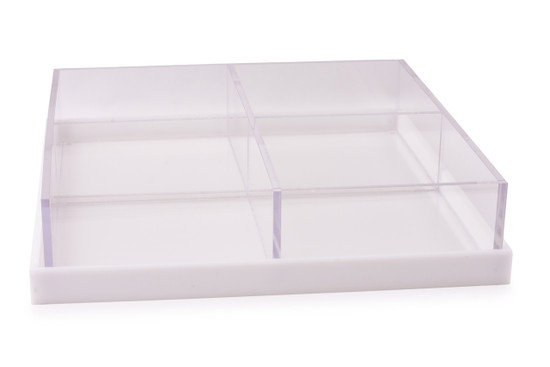Acrylic 4 Section Large Square with Base/ Cover-12""
