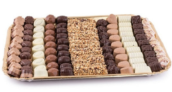 Assorted Chocolates on Gold Tray-Deluxe