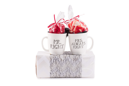 Mr. Right, Mrs. Always Right Mugs With Heart Candy