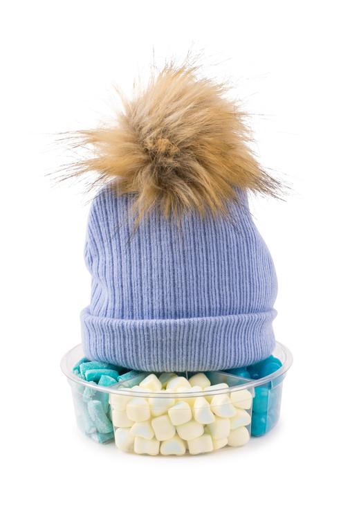 Pom Pom Hat-Blue Knit-with Candy Platter