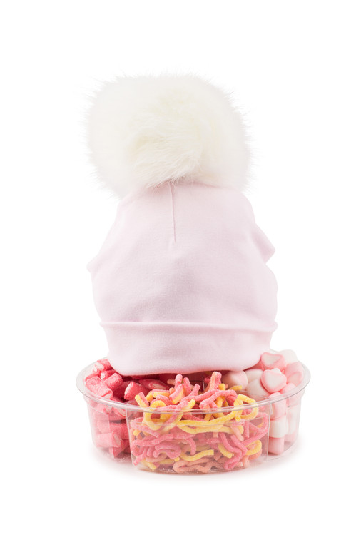 Pom Pom Hat- PInk Cotton-with Candy Platter