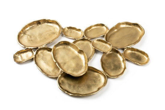 Twelve Gold Oval Bowls Centerpiece-28""