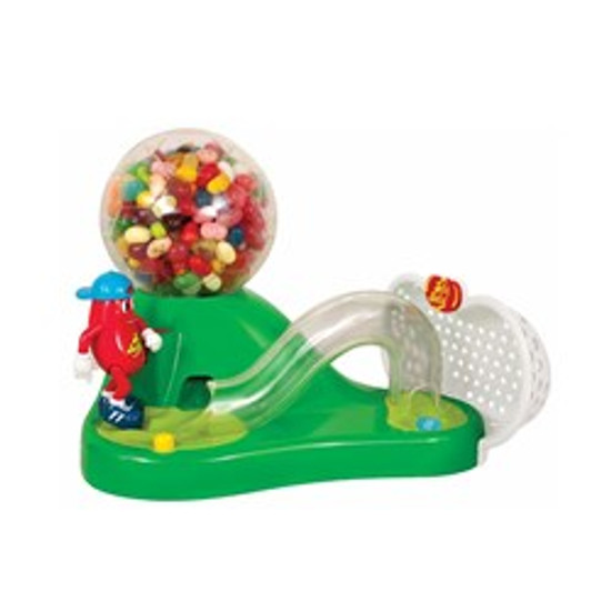 Mr. Jelly Belly Soccer Bean Machine dispenser. Press the button and watch the gear shoot out the beans!   Note: Machine holds approximately 16 ounces of beans and requires 1 AA battery (not included). Included sample bag does not fill machine