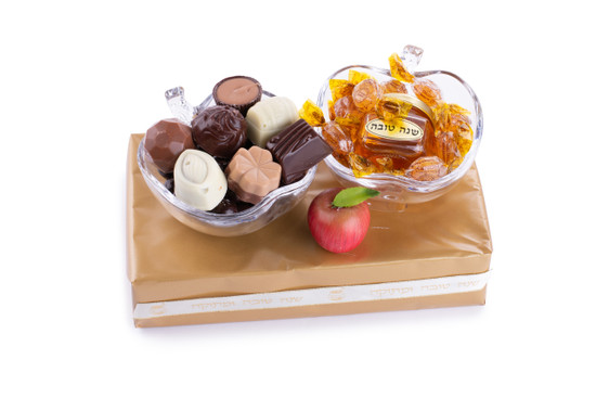 Shana Tova Apple Honey Dishes with Chocolates and Honey