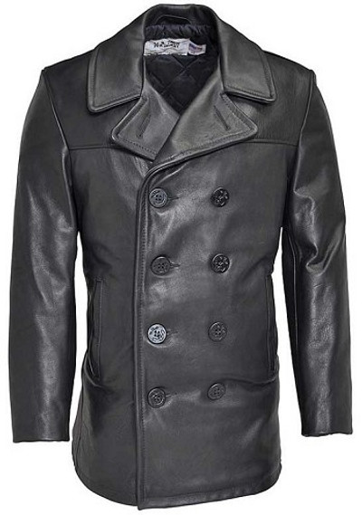 Leather Naval Pea Coat