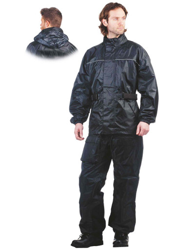 Men's Black Motorcycle Rain Suit