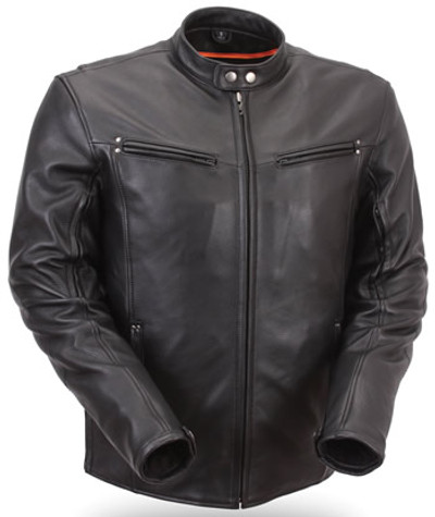 Mens Sleek Black Leather Motorcycle Jacket with  Vents