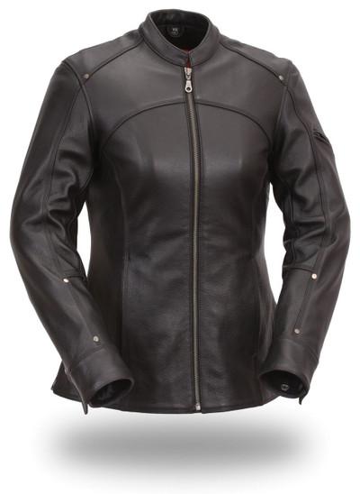 Womens  Longer Length Biker Leather Jackets Madame X