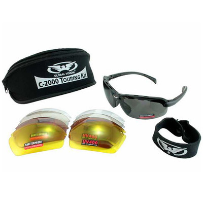Global Vision C-2000 Sunglasses Touring Kit with 5 Interchangeable Lenses