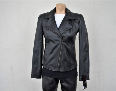 Light weight women's asymmetrical zip front leather jacket clean look