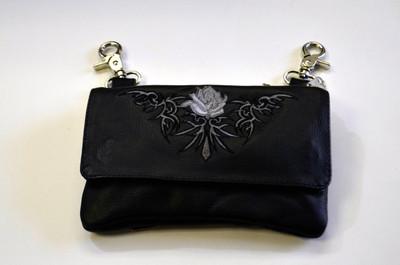 Leather Belt Bag Hip Purse Embroidered Eagle Silver  Rose
