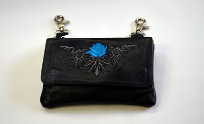Leather Belt Bag Hip Purse Embroidered Eagle TURQOUSE Silver ROSE
