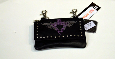 Leather Belt Bag Hip Purse Embroidered Eagle purple Silver Heart