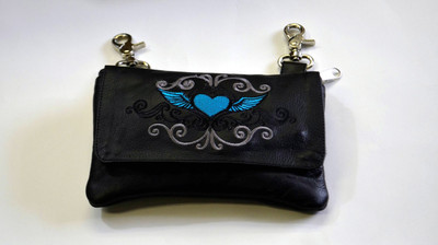 Leather Belt Bag Hip Purse Embroidered Eagle TURQOUSE Silver