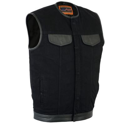 Men's Black Denim Single Panel Concealment Vest Leather Trim Collar
