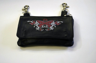 Leather Belt Bag Hip Purse Embroidered Red Butterfly