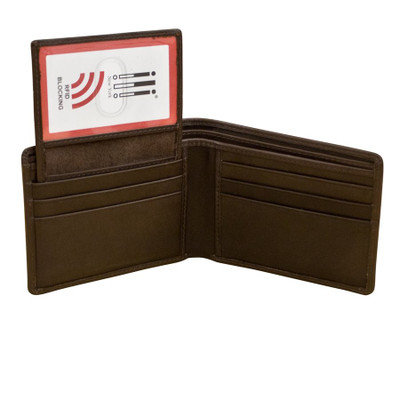 Bifold leather wallet with RFID blocking lining two ID windows