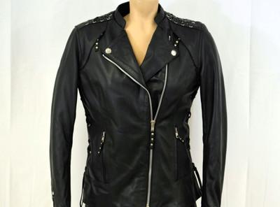 Ladies Laces  detailed soft  biker leather