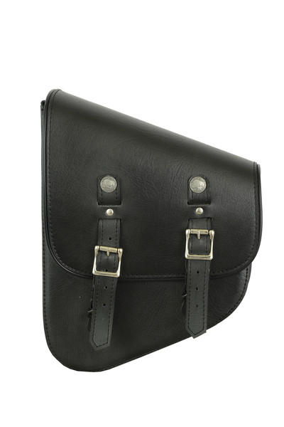 Left Side Synthetic Leather Swing Arm Bag W/ Buffalo Snaps