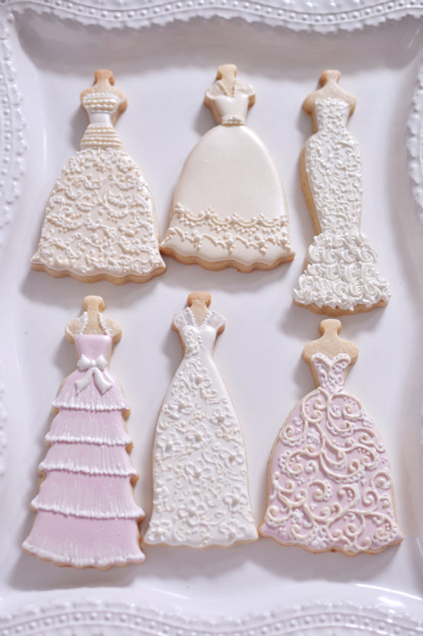 Decorated cookies by Marinold Cakes on etsy.  Gwendolyn dress is also pictured with our Beatrice, Fiona, Daisy, and Eva dresses (sold separately)