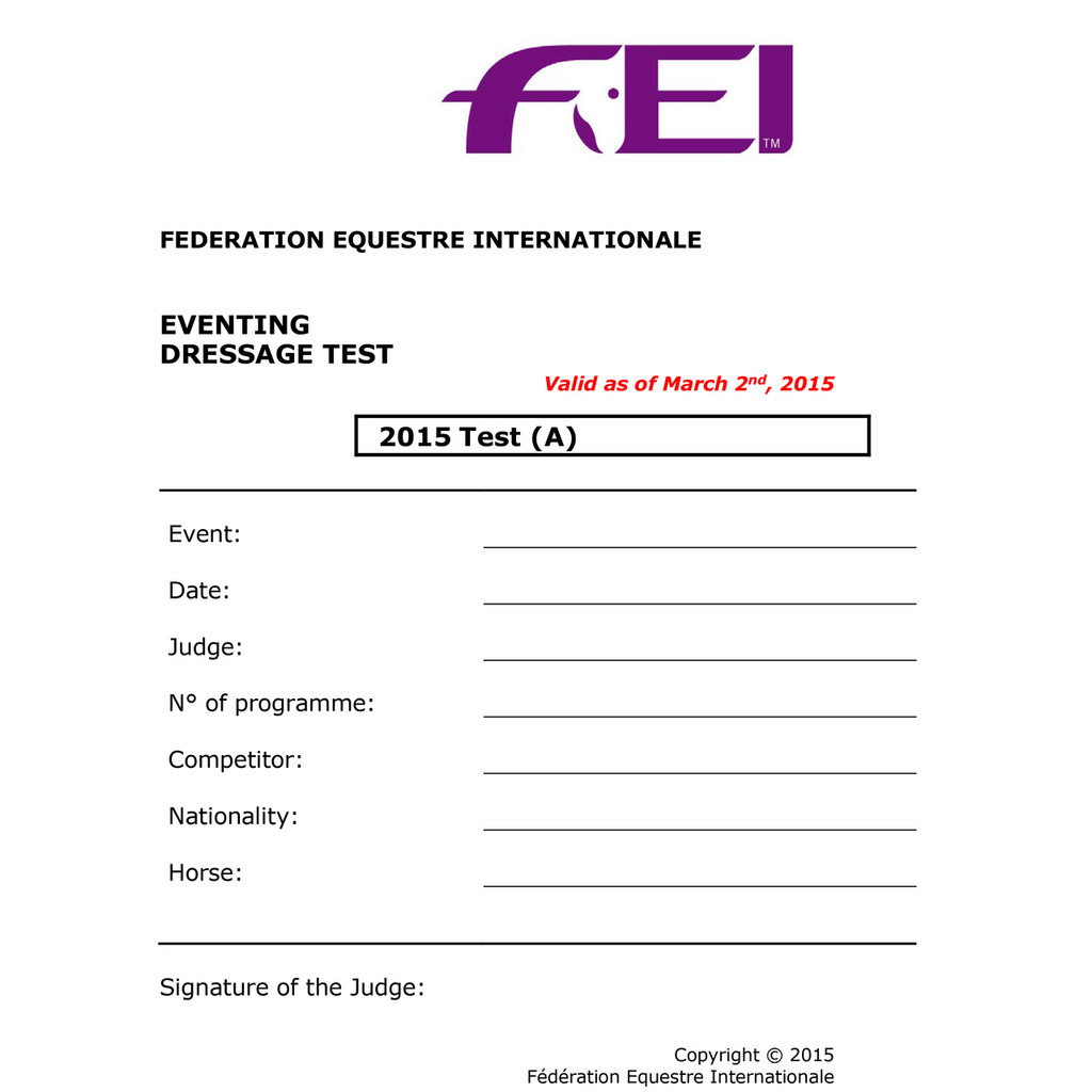 2015/2017 FEI Dressage Tests Pack