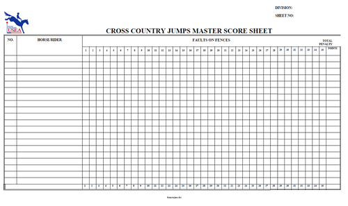 Cross-Country Master Jump Penalty Scoresheet