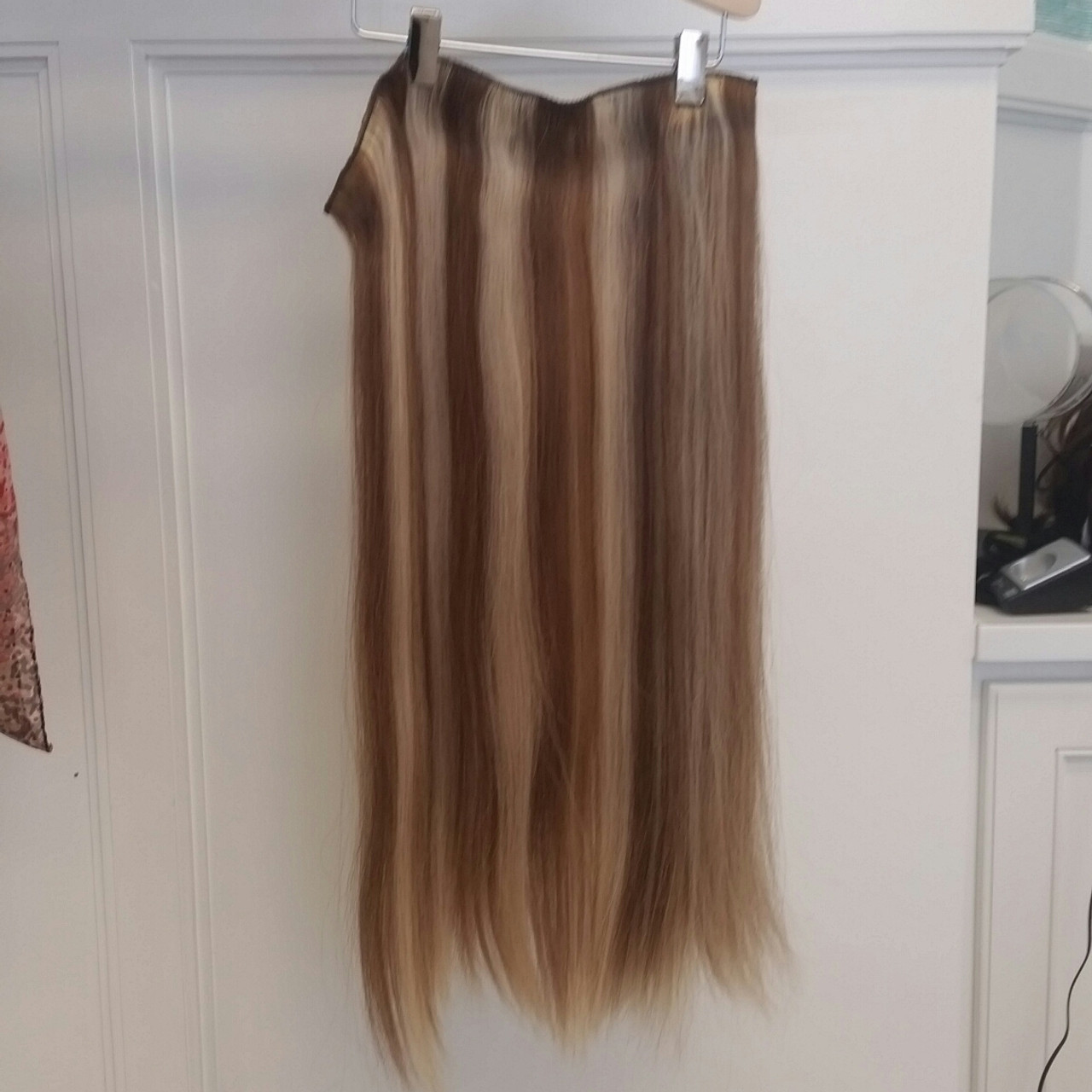 Human Hair Extensions Long Clip In 3 Piece Set 6613 Straight Hair