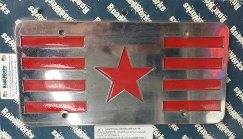 Vanity License Plate (Stars N Stripes) Stainless Steel - for Dual License holder