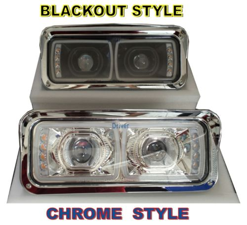 Blackout (high power) LED Projection Headlight Set - PETERBILT KENWORTH FL