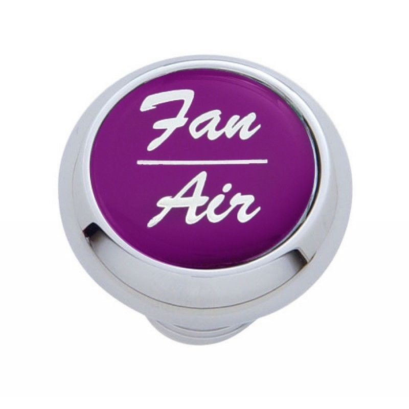 Small Chrome Deluxe Fan/Air Dash Knob with Glossy Sticker for Peterbilt, Kenworth