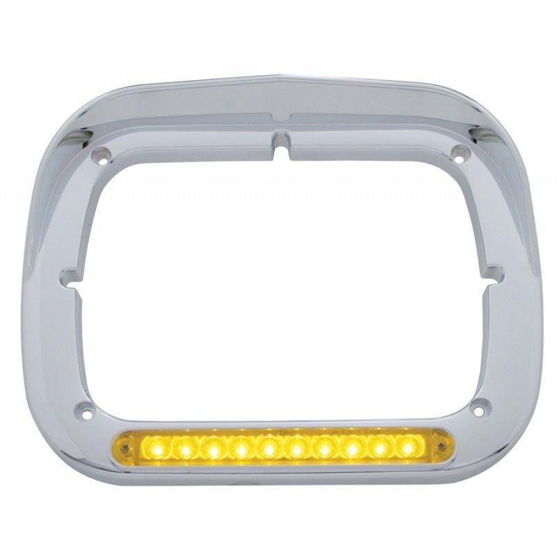 Chrome 10 Amber LED Amber Lens Rectangular Headlight Bezel with Visor