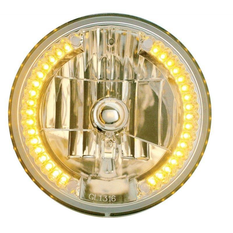 """7"""" DIA. CRYSTAL HEADLIGHT BULB WITH 34 AUXILIARY LED - AMBER LED/CLEAR LENS"""
