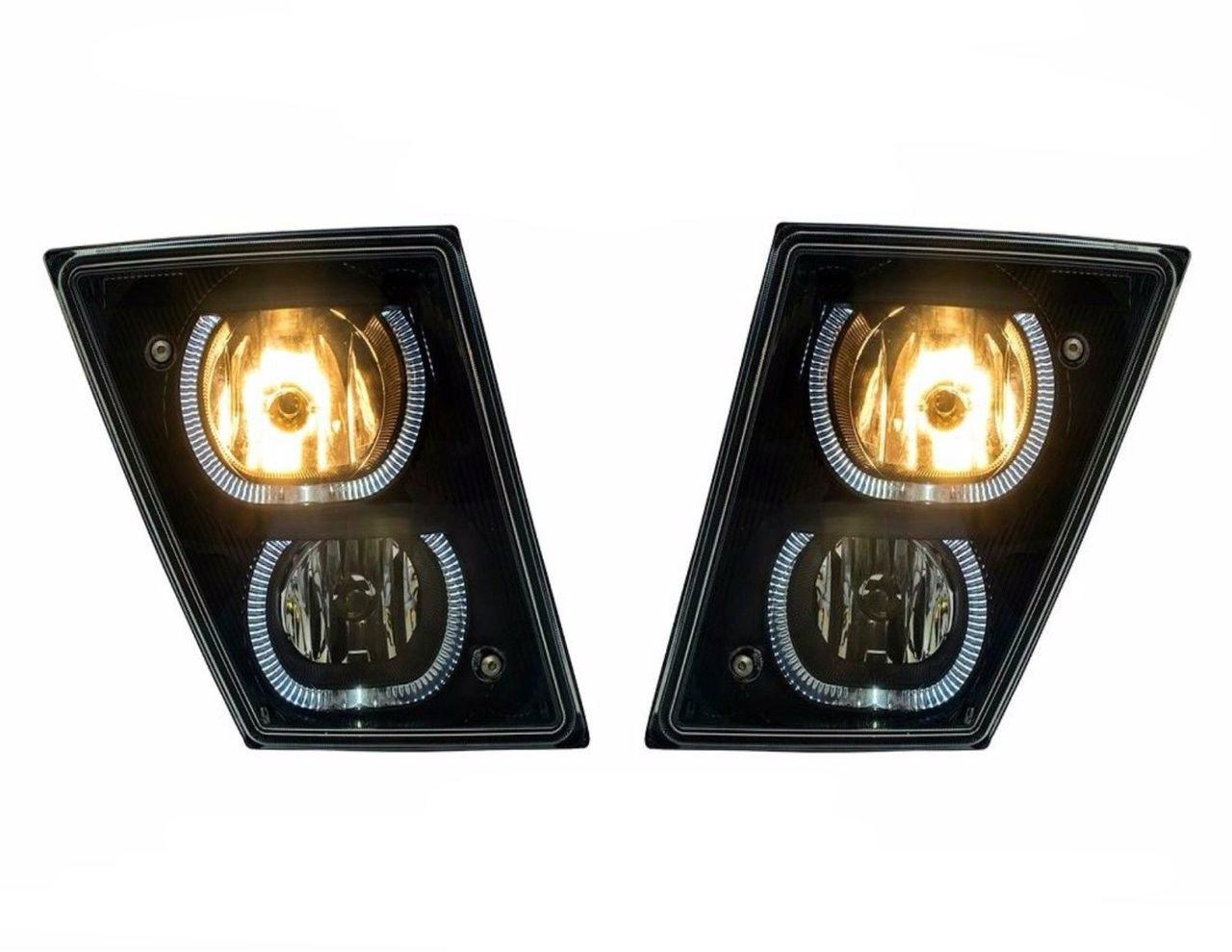 Volvo VN/VNL (Black) Fog Driving Lights With White LED Light Bars (Pair) 2004 & Newer