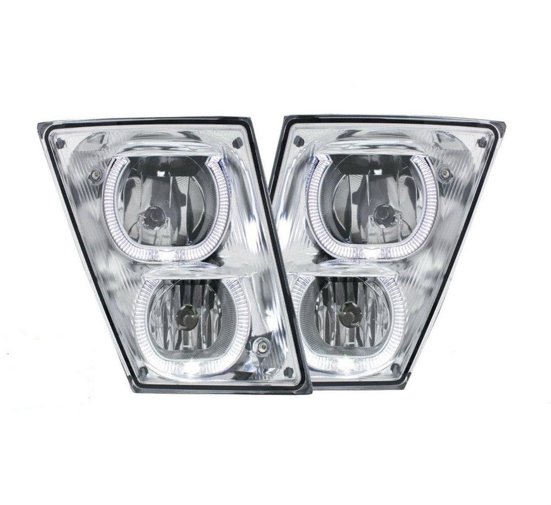 VOLVO VN/VNL (CHROME) FOG LIGHTS w/ White LED Light Bars (PAIR) 2003+