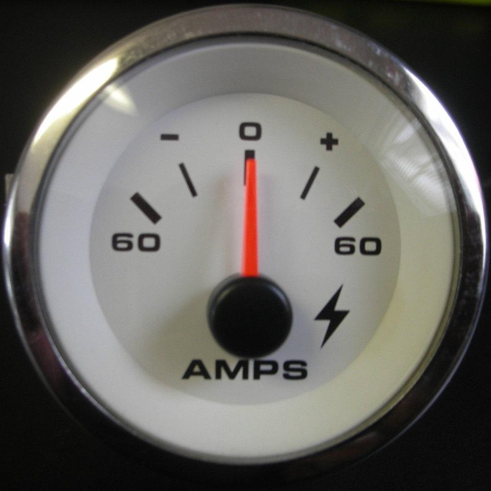 """60 AMP Chrome / White Gauge (2"""" Diameter) Telex 64644"""