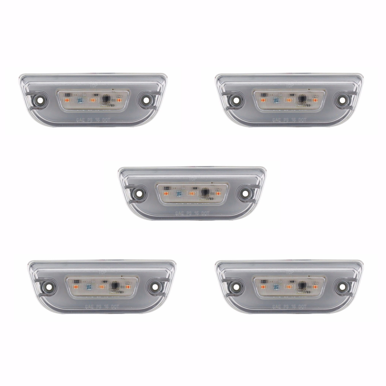11 LED GLO CAB Lights for Peterbilt 579 & Kenworth T680, Clear Lens with Amber LED, Set of 5