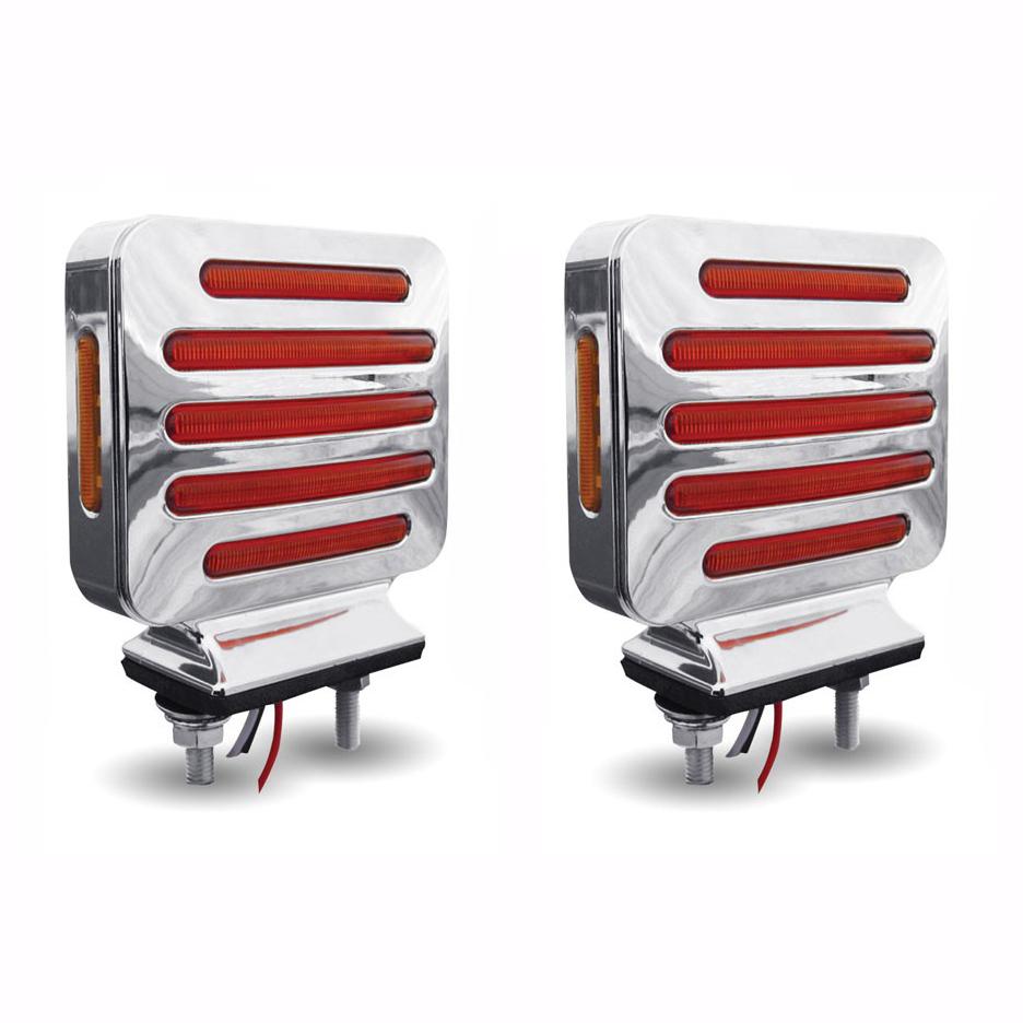 Led Lights For Semi Trucks >> Flatline Double Face Square Led Lights Amber Red Pair Semi Truck Fender