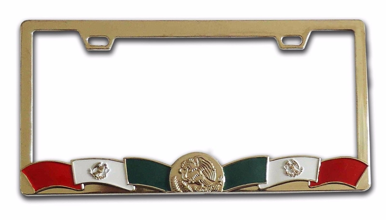 Flag of Mexico Metal License Plate Frame - Gold Color Chrome - uatparts