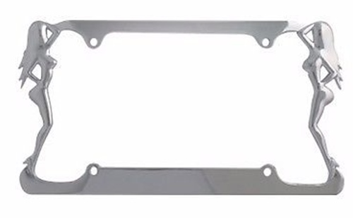 Nude Lady License Plate Metal Frame - Car Truck Auto Cover Chrome